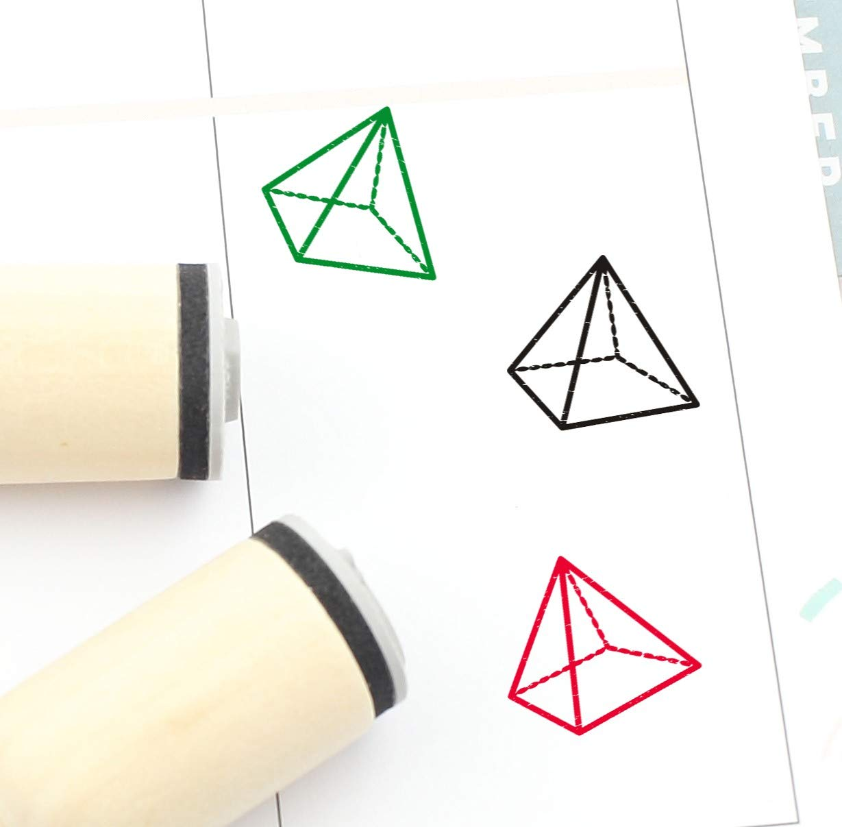 Square Pyramid Rubber Stamp Factory outlet Geometry Cute Cheap
