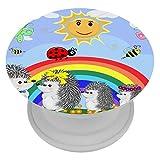 Okone Klappbarer Griff und Ständer für Handys und Tablets, Igel-Babys, Regenbogen-Schmetterlinge, Handy-Halterung und Halterung, Smartphone-Zubehör