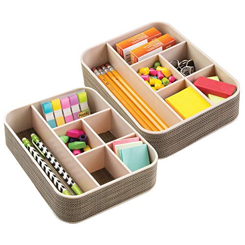 mDesign Plastic Woven Home, Office Drawer Storage Tray - Divided for Countertop, Desk, Workspace - for Gel Pens, Colored Pencils, Erasers, Tape, Paper Clips, 6 Compartments, 2 Pack - Pearl Champagne