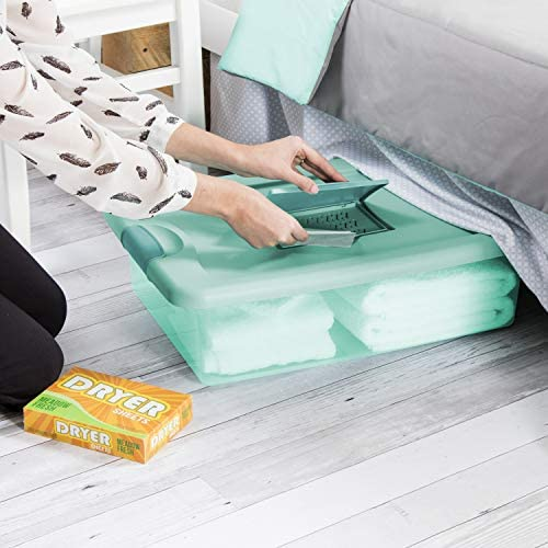 Sterilite 15067Y06 32 Qt 30L Fresh Scent Box Aqua Tent base with Aqua Chrome Lid Teal Splash product image