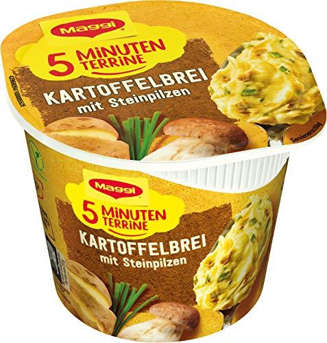 Maggi 5 Minuten Terrine Kartoffelbrei mit Steinpilzen, leckeres Fertiggericht, Instant Kartoffel-Püree, herzhafter Kartoffel-Snack, 1er Pack (1 x 43g)