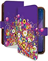 LG style2 L-01L ケース 手帳型 携帯ケース 水彩 ヒマワリ パープル 向日葵 花 紫 おしゃれ エルジー スタイル スマホケース l01l ヒマワリ柄 カメラレンズ全面保護 カード収納付き 全機種対応 t0760-02093