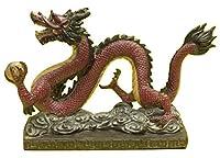 風水グッズ 樹脂製 アンティーク 紅江龍 赤 レッド ドラゴン 置物