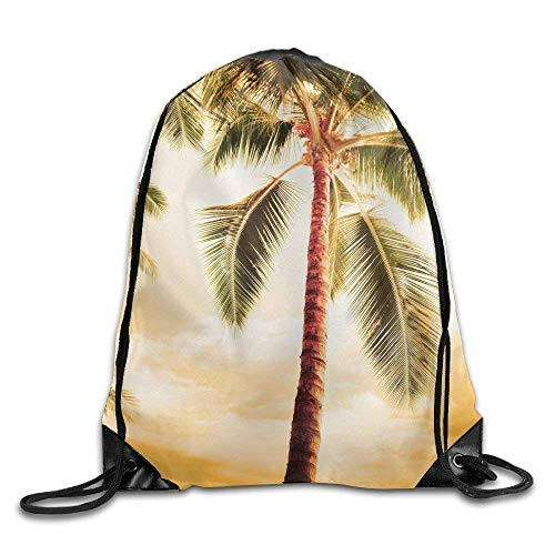 Etryrt Zaino con Coulisse,Borse Sacca,Sacchetto Drawstring Gym Backpack Bag Beach Palm Trees Waterproof Bunch Backpack for Men And Women