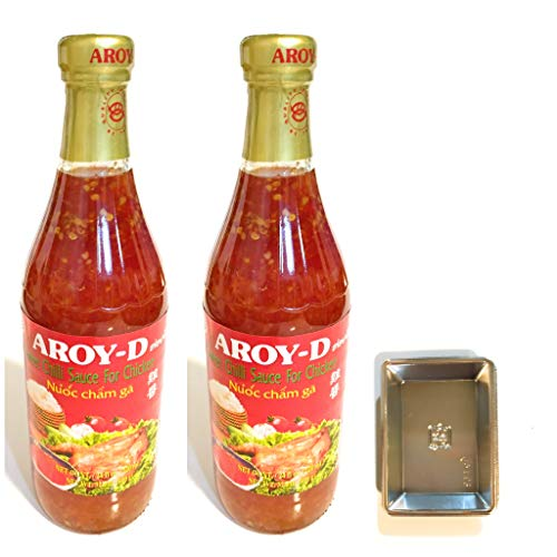 2 PACK Aroy-D Sweet Chili Sauce For Chicken 32.5 Oz Each And 2 Soy Sauce Dish