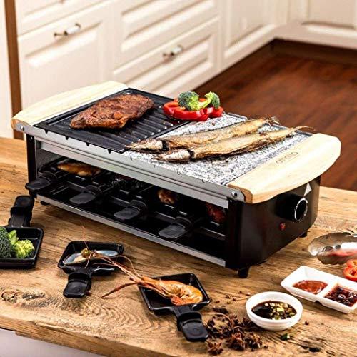 teppanyaki Grill, Elektrische Rookvrije Draagbare BBQ Indoor Barbecue Grill Water Gevulde Druppelbak Gereduceerde Geur Rook, met 8 Bakpannen 1800 W