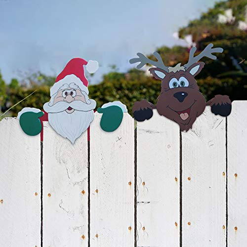 Santa Claus and Reindeer Fence Peeker Christmas Decoration,Holiday Fence Topper Decor,Outdoor Garden Lawn Yard Signs Decor,Holiday Christmas Themed Fence Decor (2PC Santa+Reindeer)