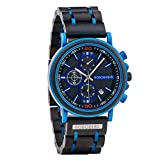 BOBO BIRD Mens Wooden Watch Stylish Blue Wood Stainless Steel Combined Chronograph with Luminous Pointers Fashion Business Timepiece for Men/Father/Husband/Son