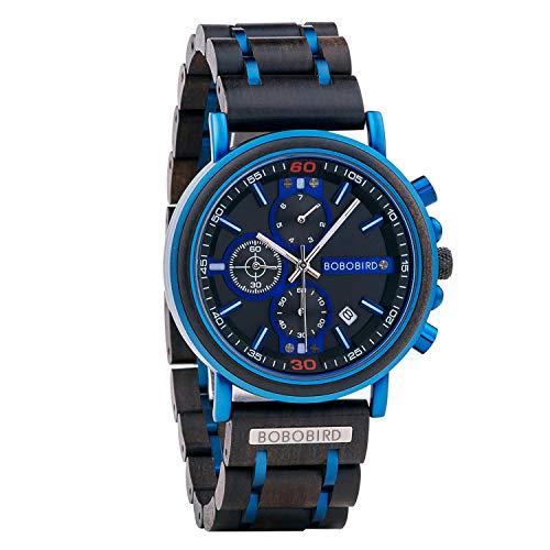 BOBO Bird, reloj de madera para hombre, elegante de madera azul, cronógrafo combinado, con punteros luminosos, reloj de negocios de moda para hombre/padre/marido/hijo
