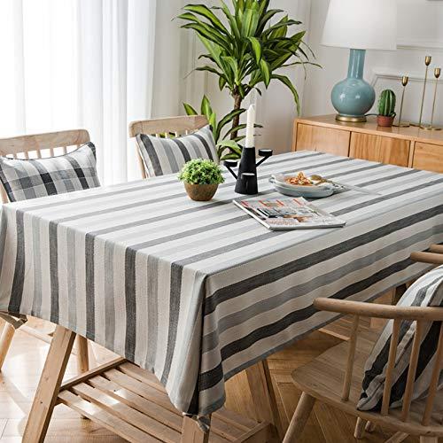 LYDCX Nordic Plaid Gestreifte Tischdecke Bestickte Tischdecke Abdeckung Handtuch Blau Grau Geometrische Tischdecke Couchtisch Abdeckung Tuch Graue Linie 135 * 200Cm
