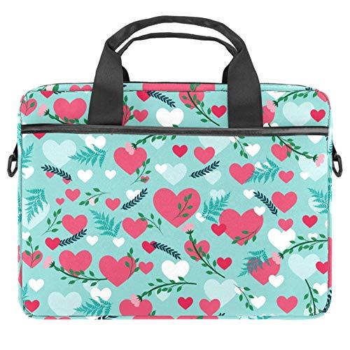 Bolso de Hombro para portátil Bolso de Mensajero de documento de maletín de 15 Pulgadas Bolso de Negocios con asa y Correa de Hombro Patrón de Hojas de corazón de Amor