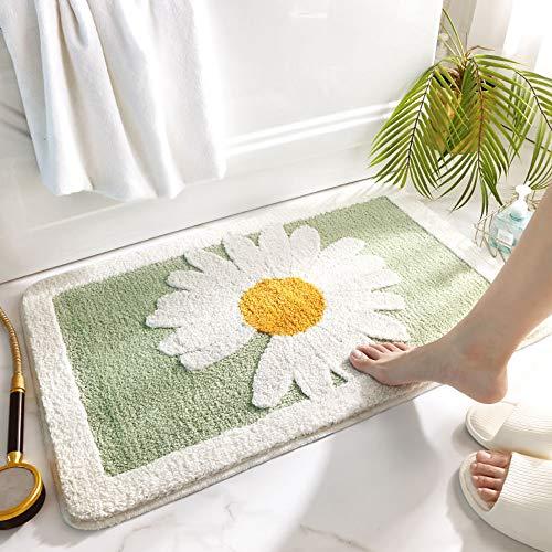 SDINAZ Alfombrillas de baño Antideslizantes Lavables Alfombras de baño Moquetas Alfombrillas para bañera para Ducha con patrón de Margaritas 80 * 50 CM