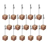 CM Cosmos 15 Pcs Lightweight Cube Base Memo Clips Holder with Alligator Clip Clasp for Displaying Number Cards (Wooden Base)