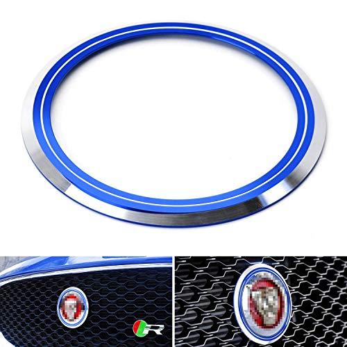 iJDMTOY Blue Aluminum Surrounding Decoration Ring Trim Compatible With Jaguar F-Pace XE XF XJ Front Grille Feline Emblem.