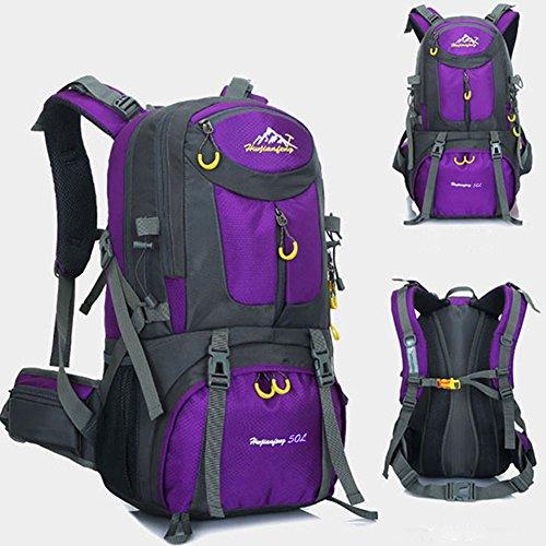 50 litri Zaini da escursionismo, ideale per lo sport all'aperto, trekking, trekking, viaggi di campeggio, montagna. Borsa per alpinismo impermeabile, Daypack da arrampicata da viaggio(Porpora)