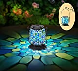 Mosaic Solar Lantern Outdoor Hanging,Solar Table Lamps Outdoor Decorative w/Honeycomb Tile,Waterproof Umbrella Lights,Glass Lantern for Garden,Patio,Pathway&Yard Decor,Great Gifts,6.5'H (Cool Blue)