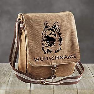 Canvas Messenger Gassitasche Schäferhund mit Wunschname