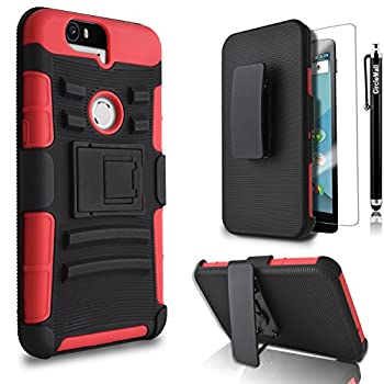 Nexus 6P Case Circle [Heavy Duty] Combo Rugged Shell Cover Holster with Built-in Kickstand and Holster Locking Belt Clip + Circle TM  Stylus Touch Screen Pen and Screen Protector Red