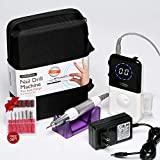 NATPLUS Professional Nail Drill Machine 30000 RPM Upgrade with Tool Bag Portable Rechargeable E-file Electric Nail File Wireless Manicure Pedicure Set Acrylic Nail Tool for Gel Nail 110-220V.