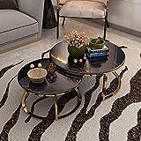 FACAZ 2 Piezas |Mesa de Centro Redonda Mesa Auxiliar simplista |De la Cama del sofá de la decoración para la Sala de Estar casera |Mesa Nido con Base de Metal
