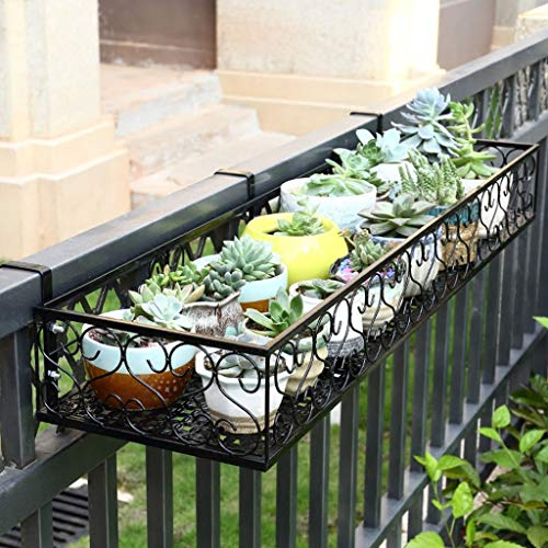 Relaxbx balkon bloem frame opknoping ijzer bloem leuning Guardrail pot rack vensterbank opknoping vlees leuning bloem rek bloem rekken (Maat: 100cm*20cm*12cm)