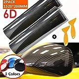 Mioke 6D Pellicola Adesiva Protettiva Carbonio,Super High Glossy,1520 x 200mm/300mm,Rivestimento Adesivo per Car Wrapping Auto Moto (Nero, 20cm)
