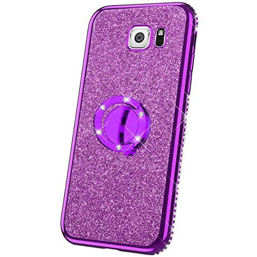 Compatibel met Samsung Galaxy Note 5 hoes silicone glitter glanzend strass diamant bekleding TPU silicone beschermhoes 360 graden ring staander doorzichtig telefoonhoes etui case voor Galaxy Note 5, zilver Samsung Galaxy Note 5 lila