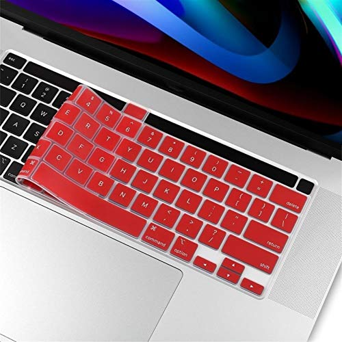 Durable keyboard stickers For Macbook newest pro 13 16 inch touch bar 2020 2019 A2251 A2289 A2141 US English Silicon Keyboard Cover clear Protector Keyboard accessories (Color : Red)