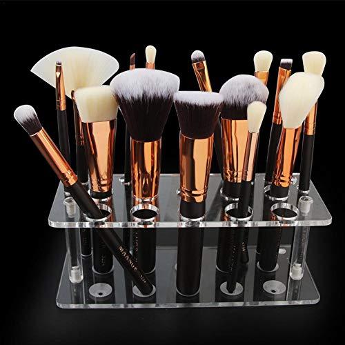 Organizador de brochas de maquillaje de acrílico transparente, para cosméticos, no incluye brochas de maquillaje, 20 agujeros