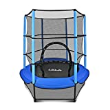 "LBLA Kids Trampoline, 55"" Mini Trampoline for Kids with Enclosure Net and Safety Pad, Heavy Duty Frame Round Trampoline with Built-in Zipper for Indoor Outdoor(Blue)"