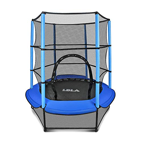 "LBLA 55"" Kids Trampoline with Safety Enclosure Net and Frame Cover, Trampoline for Children Jumping Training Indoor Outdoor Activities 4 5 6 years old"