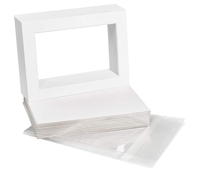 Golden State Art, Pack of 25 5x7 White Picture Mats Mattes with White Core Bevel Cut for 4x6 Photo + Backings + Bags