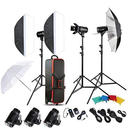 Gowe Photo Studio Speedlite kit d'éclairage avec 300 W Flash de studio Strobe support de lampe à lumière de porte de Grange Trigger
