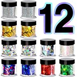 iMethod Body Glitter - 12 Jars Face Glitter, Including Fine Glitter & Chunky Glitter, Holographic Glitter for Halloween Makeup, Perfect for Women and Kids, Rave Accessories