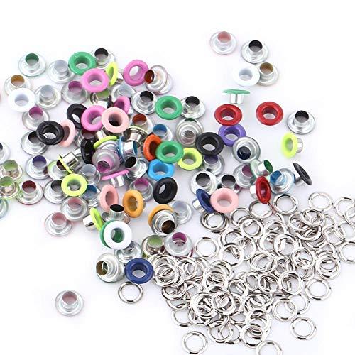 5 colores, 100 unidades, ojales metálicos, para scrapbooking, manualidades, cuero, ropa, accesorios (color mixto)