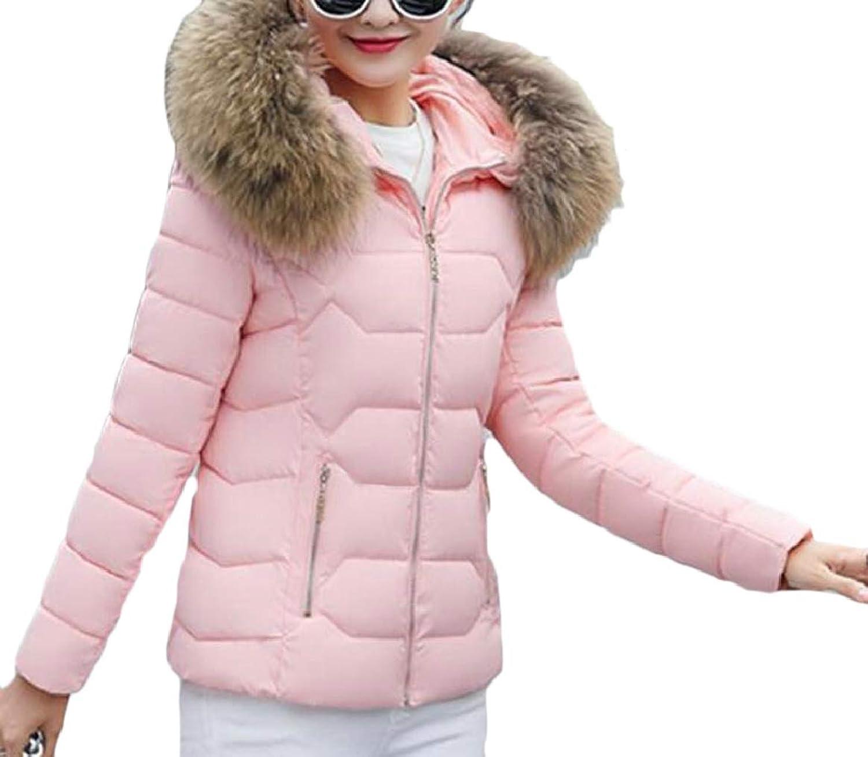 PujinggeCA Women Winter Faux Fur Hoodie Coat Parka Down Jacket Overcoat