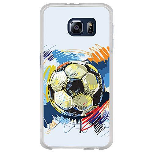 BJJ SHOP Custodia Trasparente per [ Samsung Galaxy S6 ], Cover in Silicone Flessibile TPU, Design: Pallone da Calcio Astratta