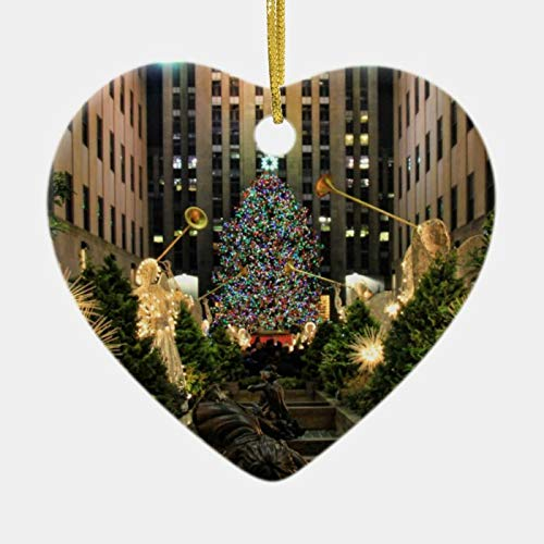 Hanging Ceramics Christmas Heart Ornaments, NYC Rockefeller Center Christmas Tree Angels H Ceramic Ornament, Funny Christmas Tree Decorations & Gift, Made in USA