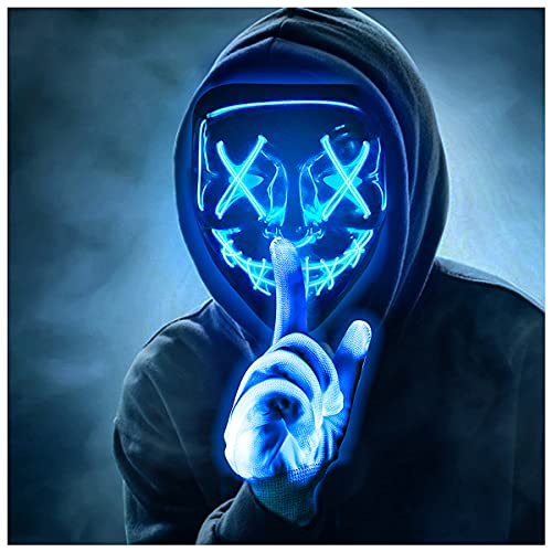 Max Fun HalloweenMaskGlowingGloves for HalloweenCostume Cosplay Party LedLightUpScary Maskswith 3 LightingModesHackerCosplayLightedFaceMasks for Halloween Parties Masquerade Party(Blue)