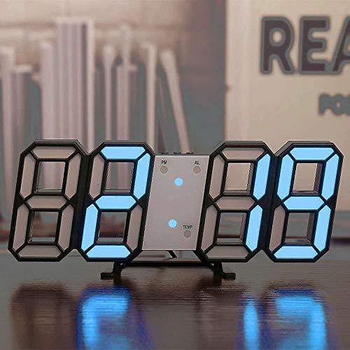 XKMY Reloj despertador para niños con luz de noche, con luz de fondo para decoración del hogar de los niños, color negro y azul