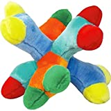 "Zanies Attack A Jack Big Breed Dog Toys Colorful 6 Squeaker Soft Plush Bones 11"" Jumbo"
