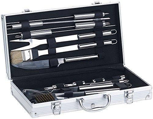 Rosenstein & Söhne Grillset: 14-teiliges Edelstahl-Grillbesteck-Set, Aluminium-Koffer, Grillbürste (Grill Set Koffer)