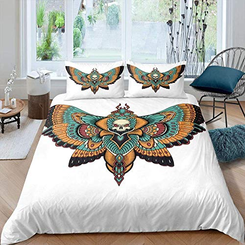 Meesovs Bedding 3-Piece Duvet Cover Set - with Pillowcases Bohemian tribal animal butterfly insect skull patternKing(240 X 220 cm) Hypoallergenic Ultra Soft Microfiber Bre+ 2 pillowcases (50 x 75 Cm)
