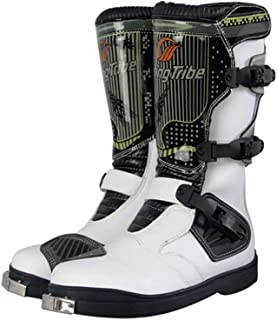 Motorcycle Boots, Road Racing Cruise Sports Long Ankle Shoes Heavy Anti-Impact Leather Boots, Cycling Boots with Impact Protection at The Toe