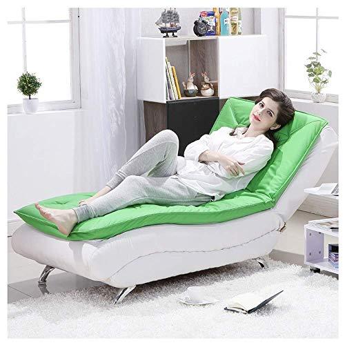 Tragbares Sofa Sofastuhl Verstellbares Schlafsofa Lazy Couch Schlanke, Minimalistische, Waschbare, Einzelne Stoffsofa Schlafzimmer Wohnzimmer Bequeme Liege 72 × 175 cm (Farbe: Grün Weiß)
