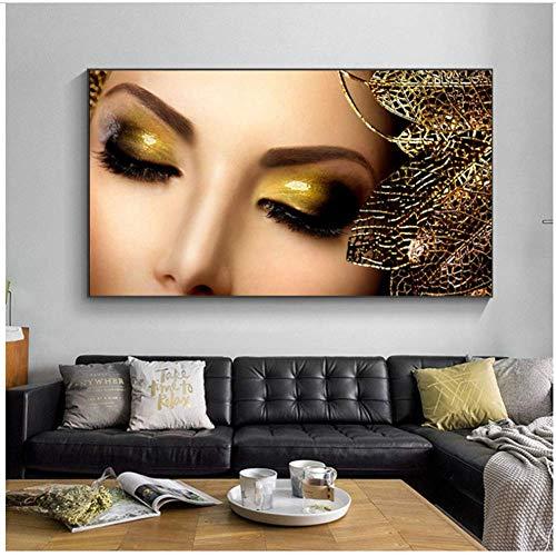 Diseño de arte de la pared Pintura de la lona Maquillaje dorado...