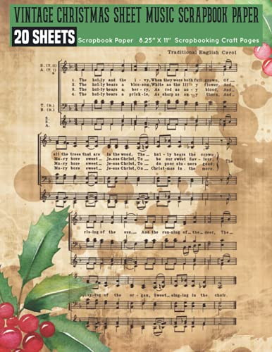 Compare Textbook Prices for Vintage Christmas Sheet Music Scrapbook Paper: 20 Printed Music Sheets for Papercrafts, Antique Classic Retro Double Sided Illustration , Decoupage, ... ... Craft Supplies for Collage, Bookbinding  ISBN 9798473242652 by Vintage Christmas, Salah