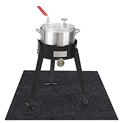 KALASONEER Under The Turkey Fryer Mat,Absorb Oil and Water,Protects BBQ Deck or Patio from Oil,Grease,and Spills, Slip Resistant and Waterproof (Turkey Fryer Mat:36inches x 48inches)