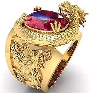 شخصية الاستبداد خاتم معدني للنساء والرجال الفاخرة الهيب هوب البانك هدية عيد الميلاد (معدن اللون: ذهبي، حجم الخاتم: 7)