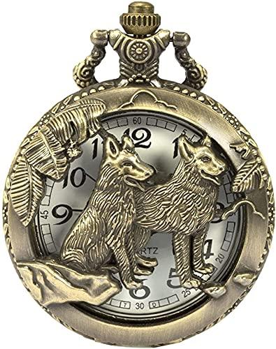 FHISD Reloj de Bolsillo Reloj de Bolsillo con diseño de Lobo, patrón de Lobo, Reloj de Bolsillo y Cadena de Cuarzo de Bronce para Hombre, Acción de Gracias de la casa Stark de